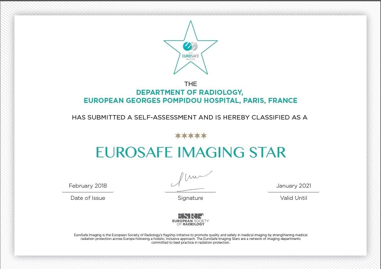The European Georges Pompidou Hospital (HEGP) certified by the Eurosafe Imaging